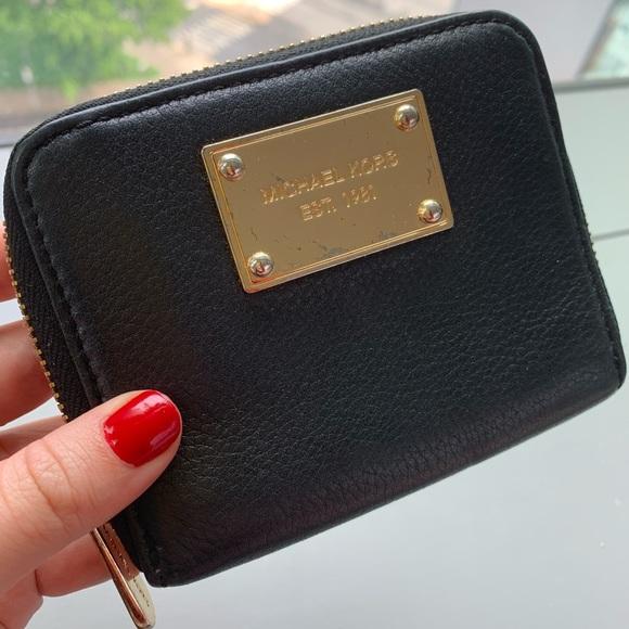 Michael Kors Handbags - Michael Kors Wallet (Black and Gold)